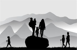 People in mountains. Royalty Free Stock Image