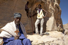 People on the mountainside, Ethiopia Stock Images