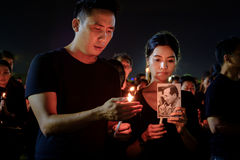 People mourners gather outside the Grand Palace to pay respects to the late King Of Thailand. Bangkok, Thailand - October 22, 2016: People mourners gather royalty free stock images