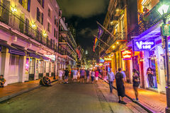 People on the move in the Bourbon street Royalty Free Stock Photos