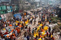 People move through giant Flower Market Stock Photography
