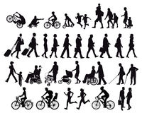 People on the move. Illustration of people, men, women and children,  on the move all shown in silhouette, white background Royalty Free Stock Photo