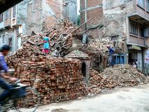 Ruined house - Kathmandu, The Streets of Thamel Stock Photos