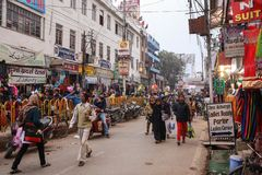People movement on the busy indian street with old Stock Photography