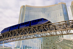 People Mover. A monorail train passes the entryway to Aria Hotel at the new CityCenter complex in Las Vegas, Nevada stock image