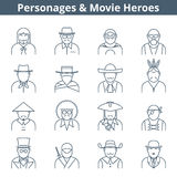 People movie heroes line icon set. Thin line vector avatar icon set. Personages and movie heroes avatar people  on white background. Professions icons, actor Stock Photo
