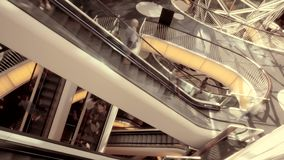 People moving on escalator. time lapse of stairways stock video