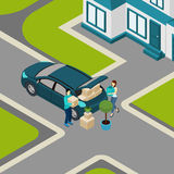 People moving From House Isometric Banner Royalty Free Stock Image