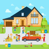 People moving into a new home stock vector, flat design illustration. Infographic elements Stock Image