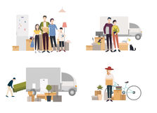 People moving into a new house with things. Set of images in flat style. stock illustration