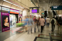 People at the MRT station in Singapore Stock Photography