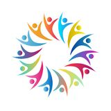 People multi color fade color people together union circle symbol discussion, business people logo working people royalty free stock image