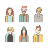 People multicolored icons vector set (men and women). Minimalistic design. Part six. Royalty Free Stock Photo