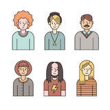 People multicolored icons vector set (men and women). Minimalistic design. Part three. Stock Images