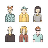 People multicolored icons vector set (men and women). Part one. Royalty Free Stock Photo