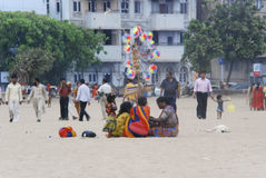 People at Mumbai beach. Stock Photos