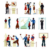 People In Museum Gallery Color Icons. People in museum gallery flat color icons with visitors keeper sculptures pictures and working artists  vector illustration Stock Photos
