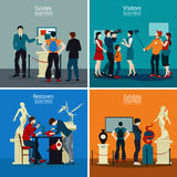 People In Museum And Gallery 2x2 Design Concept. With exhibits restorers guides and visitors flat vector illustration Stock Photography