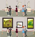 People in museum and gallery Royalty Free Stock Photography