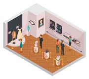 People In Museum Hall Isometric Composition. With guide and visitors viewing historical fashion exhibition 3d vector illustration Royalty Free Stock Photos