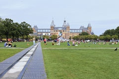 People on Museum Square, Amsterdam Royalty Free Stock Images