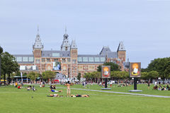 People on Museum Square, Amsterdam Royalty Free Stock Photography