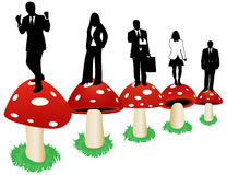People and mushrooms Stock Images