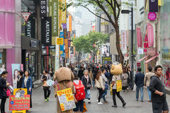 People at the Myeongdong district in Seoul Stock Photography