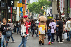 People at the Myeongdong district in Seoul Royalty Free Stock Photo