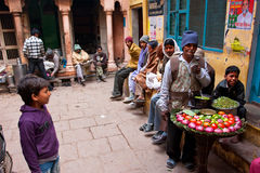 People on narrow street want to buy street food Royalty Free Stock Photo
