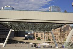 People on Nathan Phillips Square in Toronto Royalty Free Stock Photo