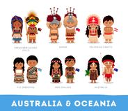 People in national clothes. Australia and Oceania. Set of cartoon characters in traditional costume. Vector flat illustrations stock illustration