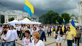 People in national costumes, Embroidery dress Vyshyvanka parade in Kiev, Ukrain stock footage