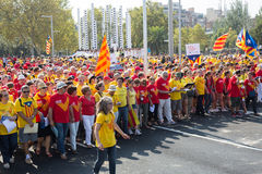 People  at The National Day of Catalonia Stock Photo
