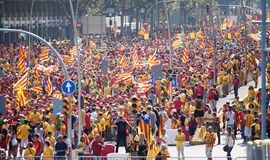 People at National Day of Catalonia royalty free stock photo