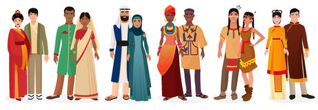 People in national traditional dress clothes. International couples. Native america, japan, china, muslim arabian, india Royalty Free Stock Images
