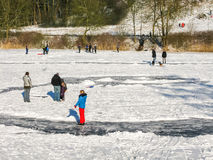 People on natural ice, Holland Royalty Free Stock Photos