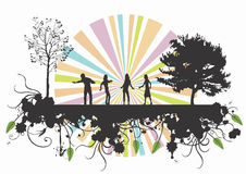 People in the nature. Illustration of people and trees Royalty Free Stock Photography