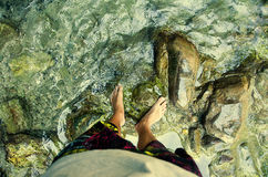 People and nature. Selfie. Legs at nature. River. Time to travel Royalty Free Stock Photography