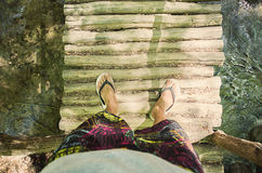 People and nature. Selfie. Legs at nature. River. Time to travel Stock Images