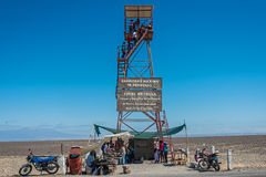 People nazca lines observation tower peruvian coast Ica Peru Stock Photos