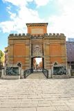 People near the ancient gate Galliera in Bologna. Royalty Free Stock Photography