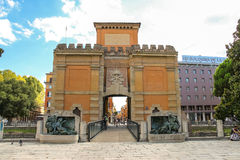People near the ancient gate Galliera in Bologna Royalty Free Stock Image