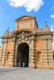 People near the ancient gate Galliera in Bologna Royalty Free Stock Photo