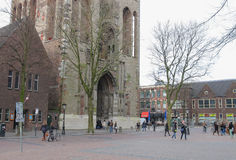 People near arch passage of Cathedral Tower in Utrecht, The Neth Royalty Free Stock Images
