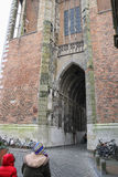 People near arch passage of Cathedral Tower in Utrecht, the Neth Stock Images