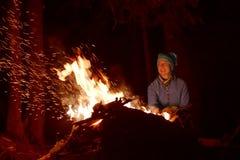 People Near Campfire Stock Image