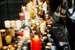 People near candles in center of French city of Strasbourg Royalty Free Stock Photography