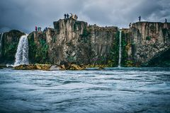 People Near Cliff Under Cloudy Sky Royalty Free Stock Photos