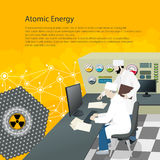 People near the Control Panel on Plant. People near the Control Panel on a Nuclear Power Plant, Thermal Power Station , Text Atomic Energy , Radiation Sign Royalty Free Stock Photos